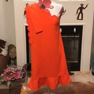 One shoulder, orange dress!